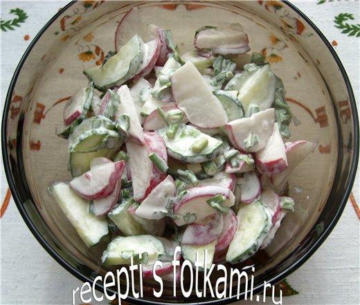 Салат из огурцов и редиски со сметаной