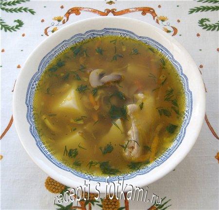 Суп с курицей, гречкой и шампиньонами