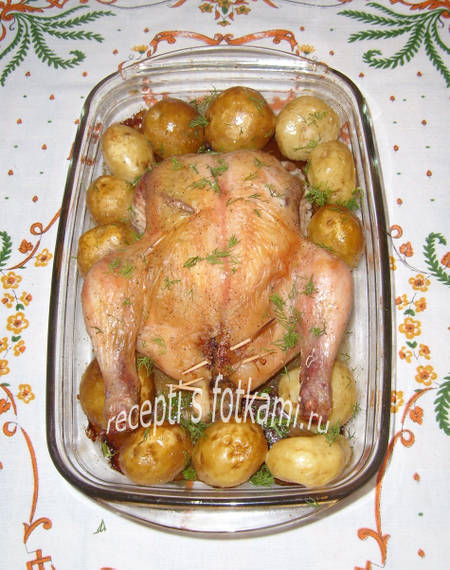 Курица фаршированная грибами с картошкой в духовке