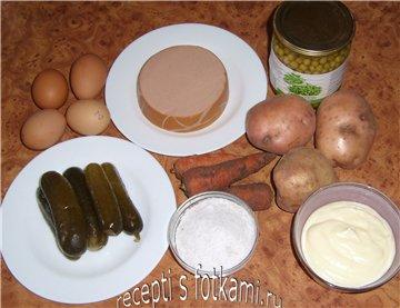 Салат оливье в виде свинки , пошаговый рецепт с фото