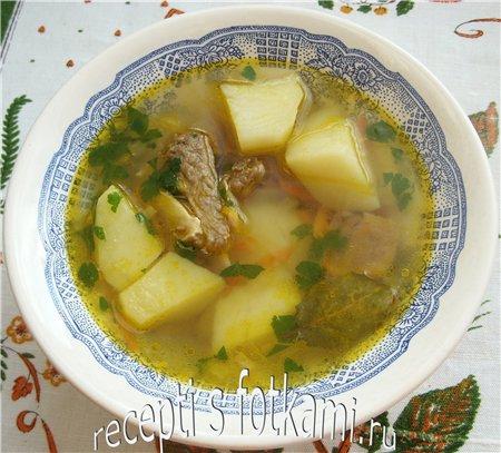 Приготовление супа из говяжьих ребрышек с картофелем