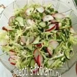 Салат из капусты с огурцом и редисом