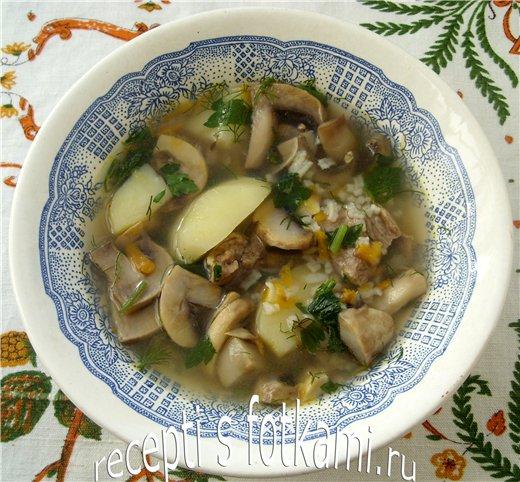 Суп с грибами, мясом и рисом