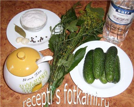 Ингредиенты для маринованных огурцов на зиму