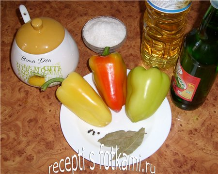 Ингредиенты для маринованного болгарского перца на зиму